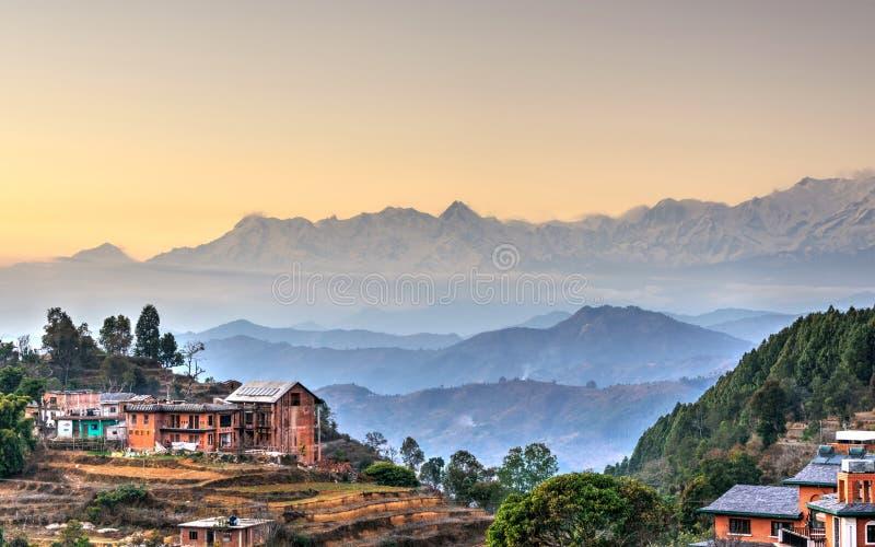 Bandipurdorp in Nepal stock afbeelding
