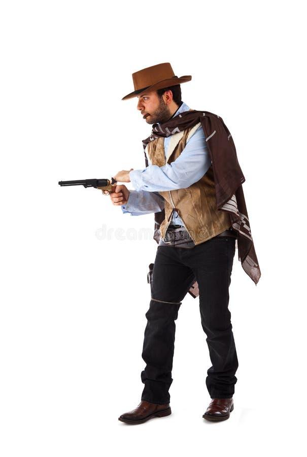 Bandit armé dans le vieil ouest sauvage sur le fond blanc photo stock