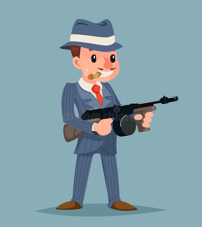 Bandit avec illustration de vecteur de conception de bande dessinée d'icône criminelle de caractère de voyou de mitraillette la r illustration stock