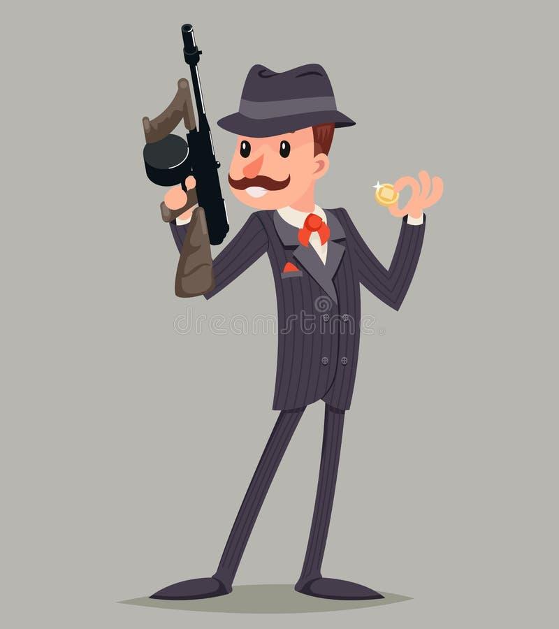 Bandit avec l'icône criminelle de caractère de voyou de mitraillette illustration de vecteur