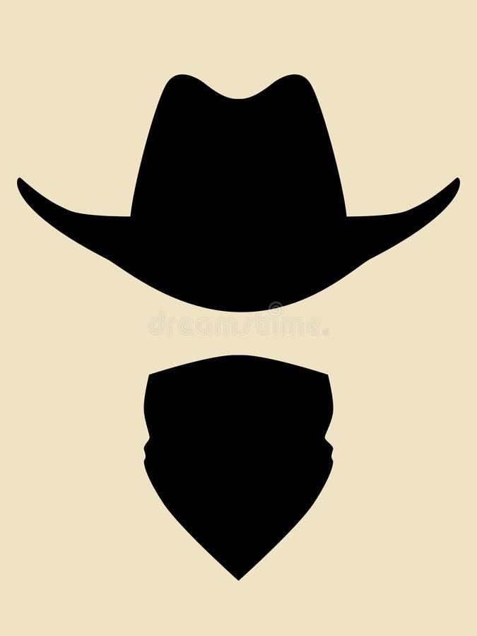 Cowboy Hat And Bandana Covering Face Symbol