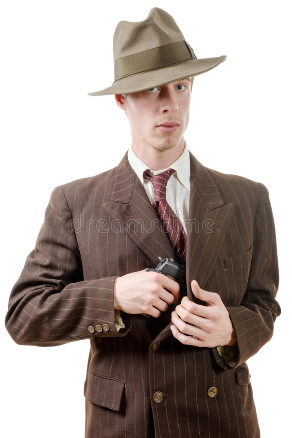 Bandit dans un vintage de costume, avec le pistolet image libre de droits