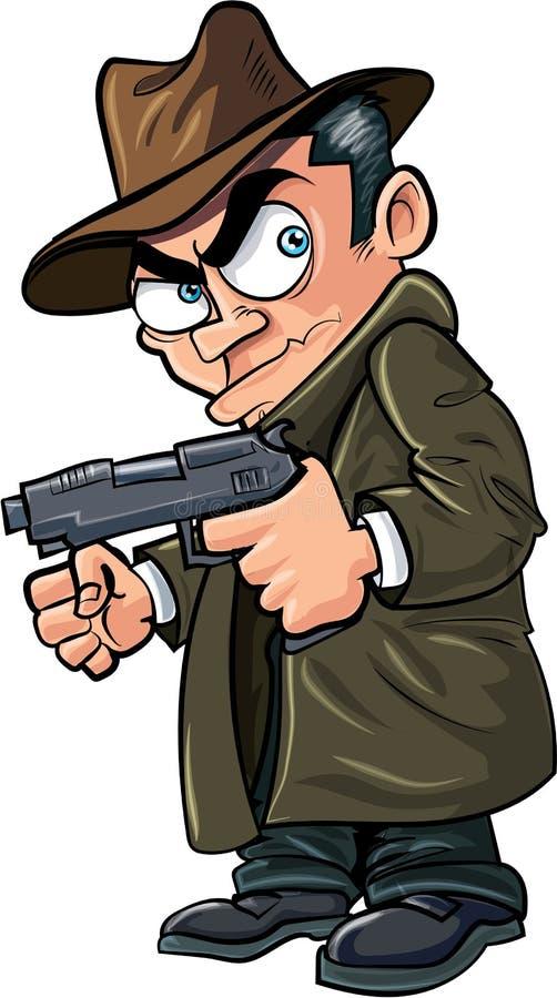 Bandit de bande dessinée avec une arme à feu et un chapeau illustration libre de droits