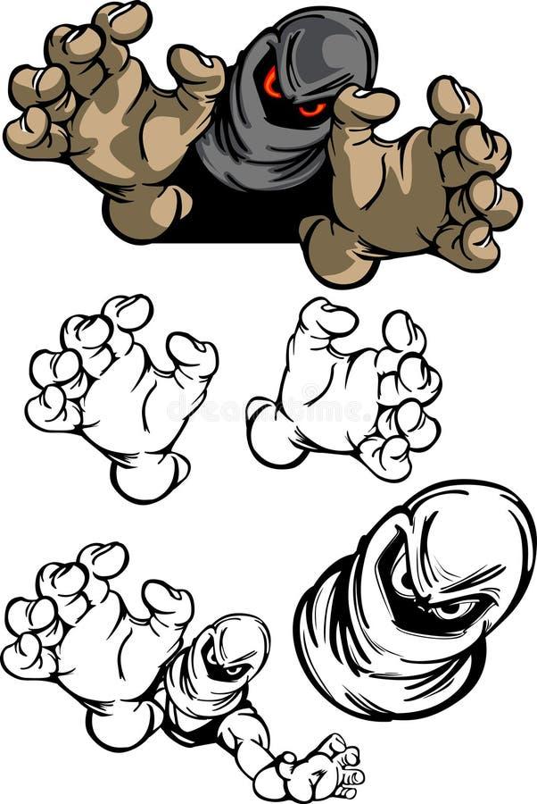 Bandit-Maskottchen-Zeichen stock abbildung