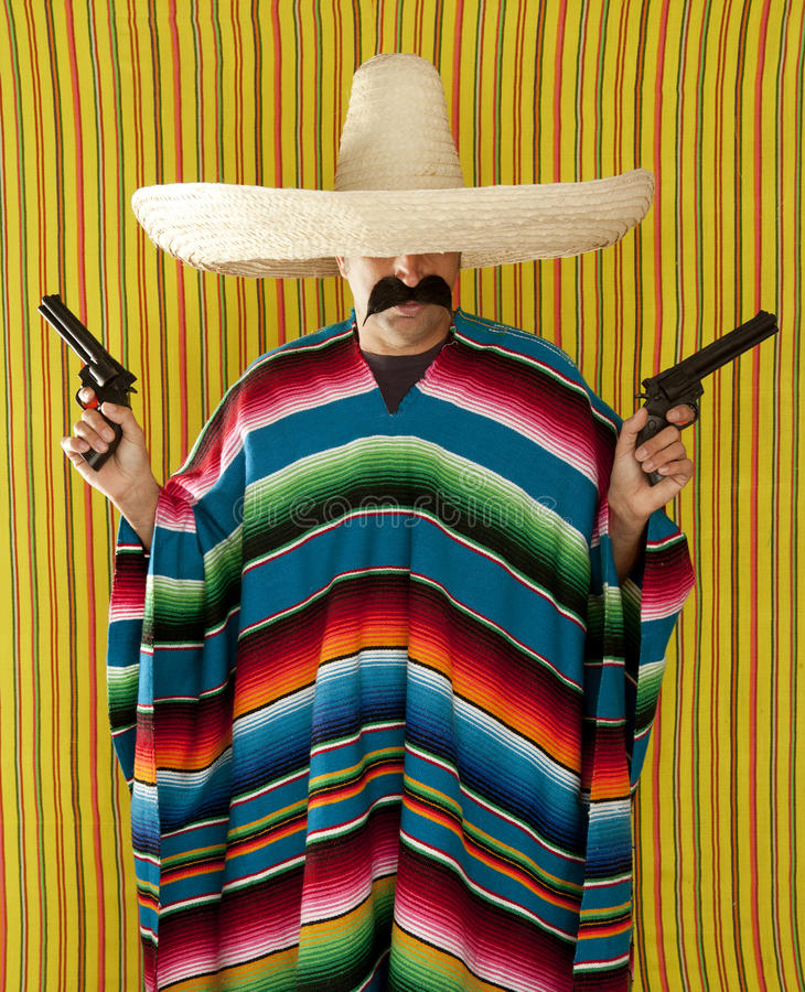 Bandit Mexican revolver mustache gunman sombrero. Poncho serape royalty free stock photos