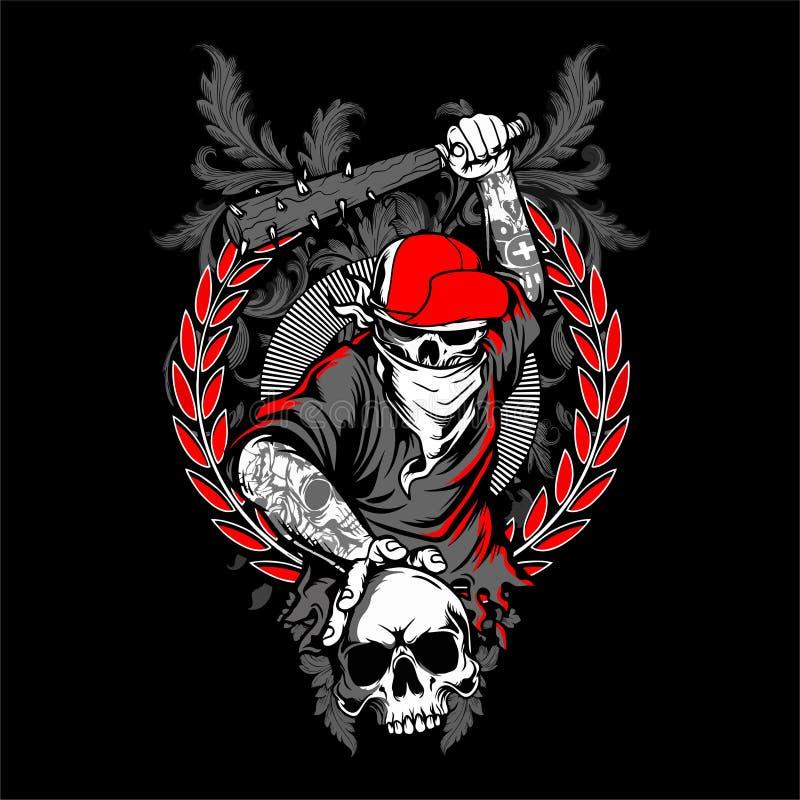 bandit skull in hipster cap and skeleton royalty free illustration