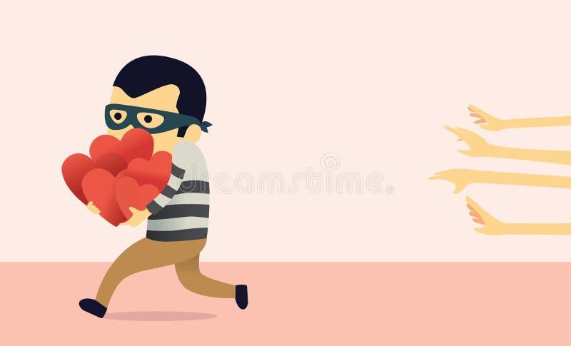 Bandit Stealing Heart. Cartoon bandit character stealing more heart from girls vector illustration