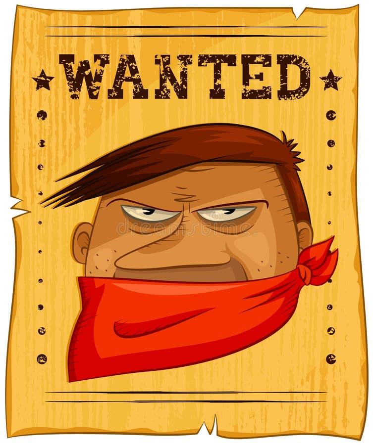 Bandit voulu illustration de vecteur