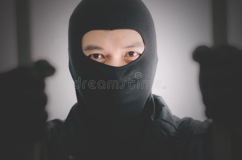 Bandit wearing a mask is agitated prisoner in jail holding bars  on white background. A Bandit wearing a mask is agitated prisoner in jail holding bars  on white royalty free stock image