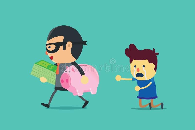 Banditen har fusket en man ut ur pengar stock illustrationer