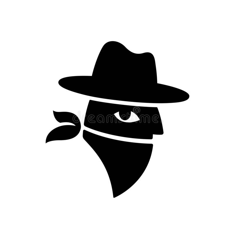 Banditframsidalogo stock illustrationer