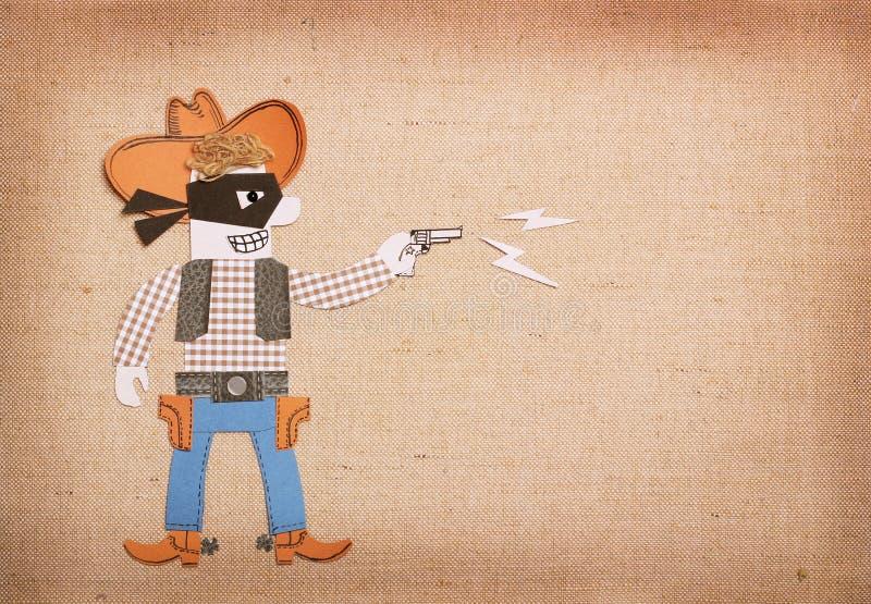 Bandito del Texas in vestiti del cowboy e maschera nera con la pistola taglio della carta royalty illustrazione gratis