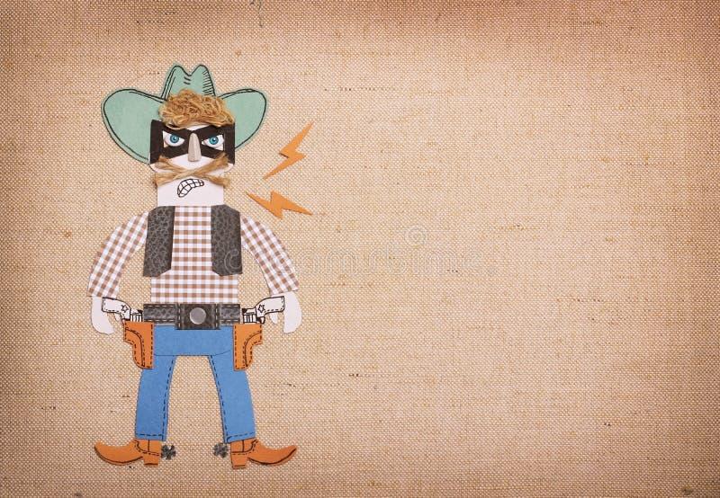 Bandito in vestiti del cowboy e maschera nera con le pistole Taglio appl della carta illustrazione di stock