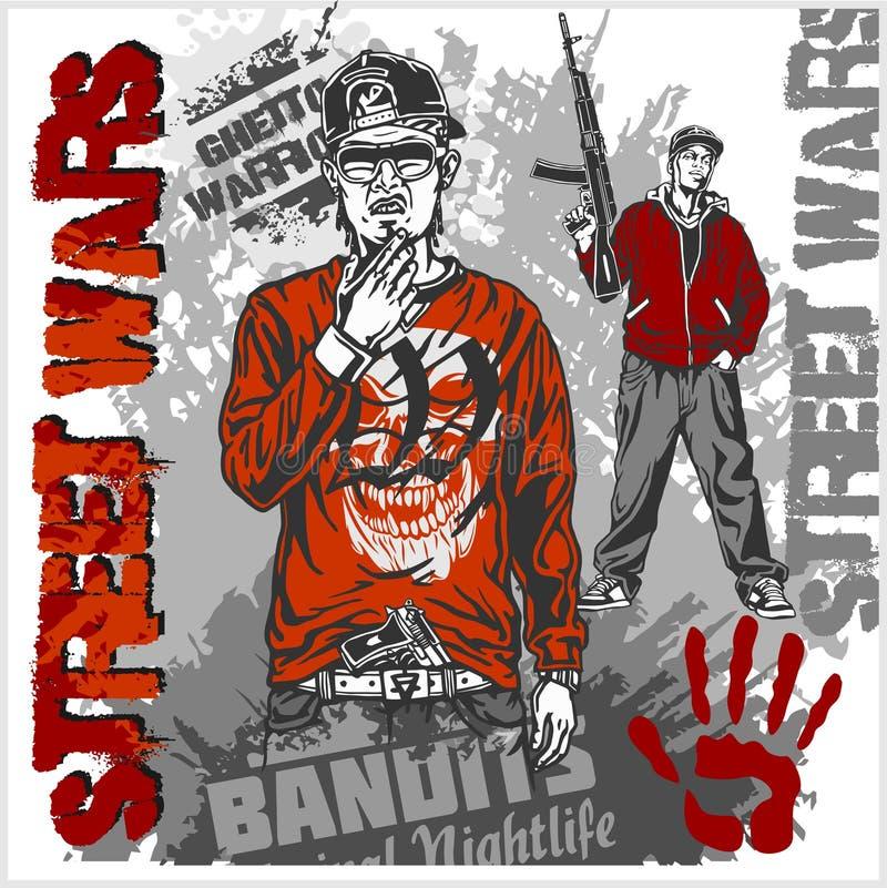 Bandits avec des armes à feu et des éléments de conception - ensemble de vecteur Illustration de vecteur illustration stock