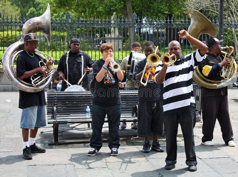 bandjazz New Orleans royaltyfri foto