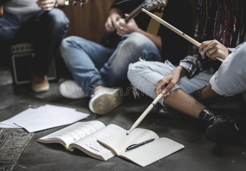 Bandmates rehearsing for their coming gig royalty free stock photo