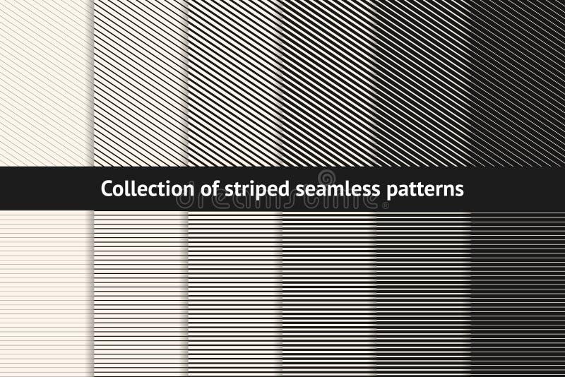 Bandmodellsamling Geometriska svartvita sömlösa texturer för vektor stock illustrationer
