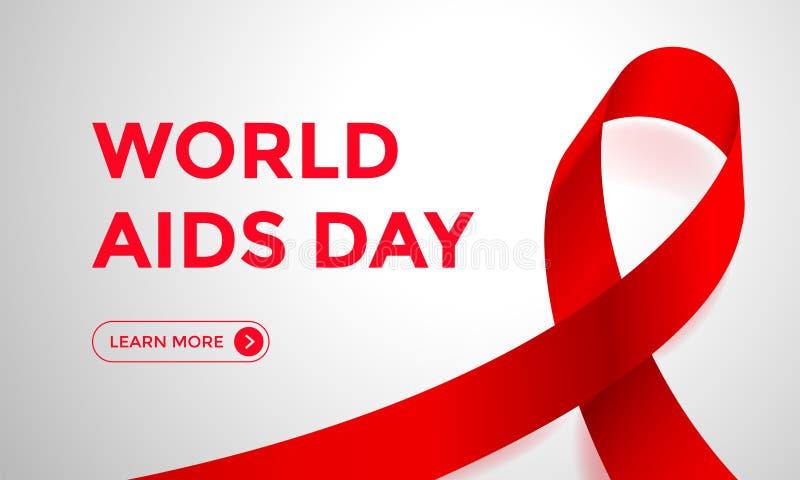 Bandnetz-Fahnenhintergrund des Welt-Aids-Tages roter für Bewusstseinswelttag den 1. Dezember Vector HIV und UNTERSTÜTZT Bandlogo  vektor abbildung