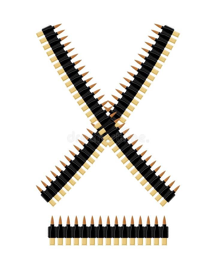 Bandolera con las balas Correa de la munición Cartuchos de cinta ilustración del vector