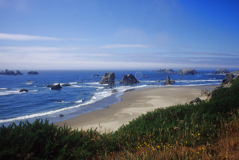 Bandon, Oregon beach. View of the many offshore rocks which dot the landscape near the town of Bandon, Oregon royalty free stock photo