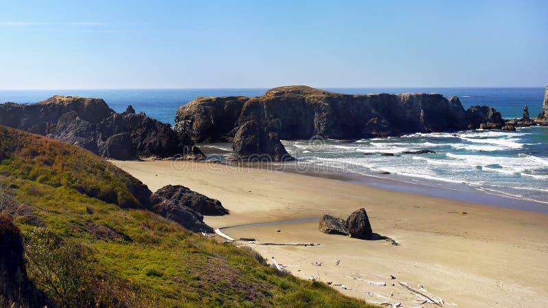 Bandon strand, scenisk Oregon kust royaltyfria foton