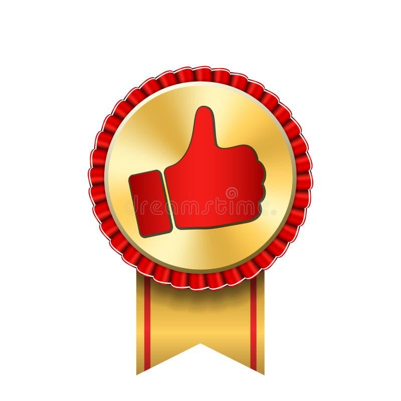 Bandpreis herauf Daumengoldikone Gestenerfolgs-Handgoldene Medaille Beste Wahl, Verkaufsschlager, Aufklebersteuerqualität stock abbildung