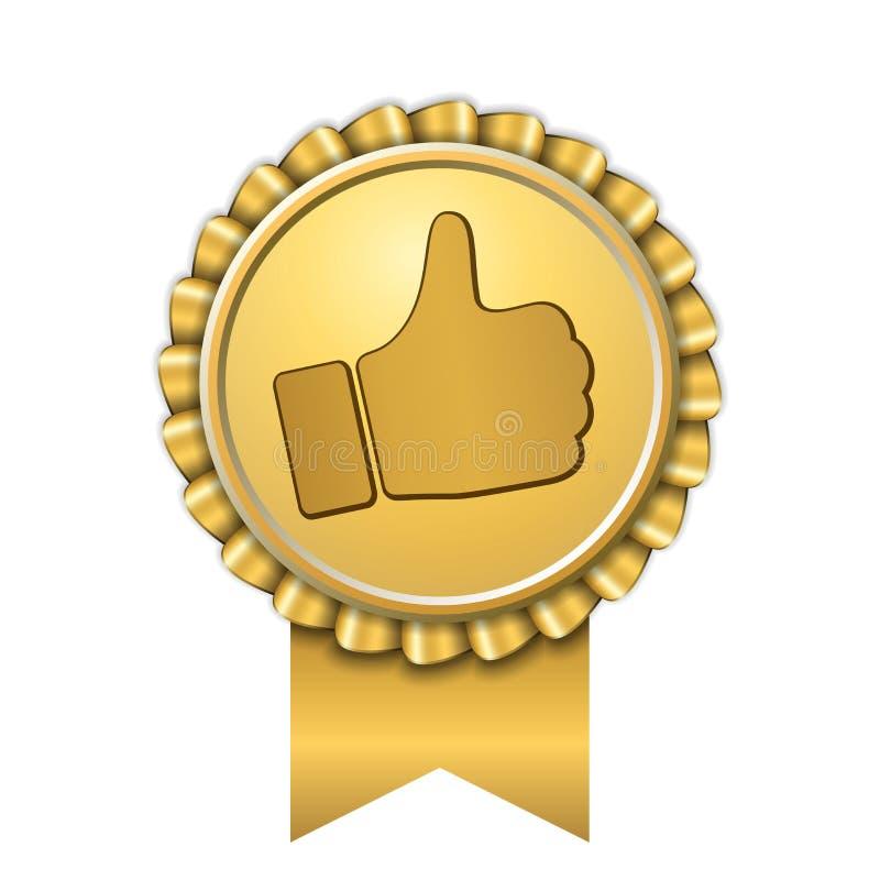 Bandpreis herauf Daumengoldikone Gestenerfolgs-Handgoldene Medaille Beste Wahl, Verkaufsschlager, Aufklebersteuerqualität vektor abbildung