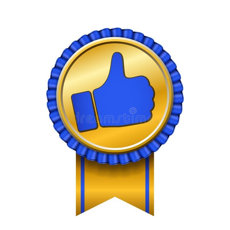 Bandpreis herauf Daumengoldikone Gestenerfolgs-Handgoldene Medaille Beste Wahl, Verkaufsschlager, Aufklebersteuerqualität lizenzfreie abbildung