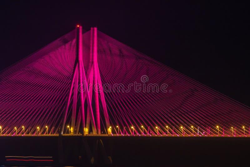 Night View of Bandra Worli Sea Link Bridge, Mumbai, India. This is a scenic constraction. The Bandra Worli Sea Link is a cable-stayed bridge in South Mumbai in royalty free stock image