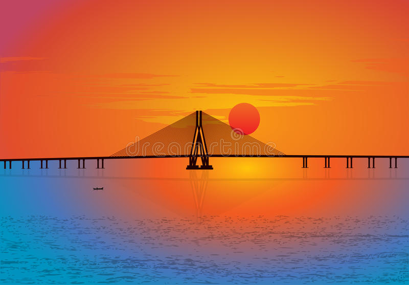 Bandra–Worli Sea Link cable-stayed bridge royalty free illustration