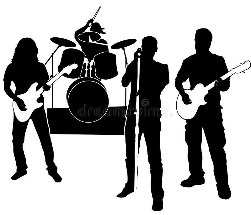 bandrocksilhouette stock illustrationer