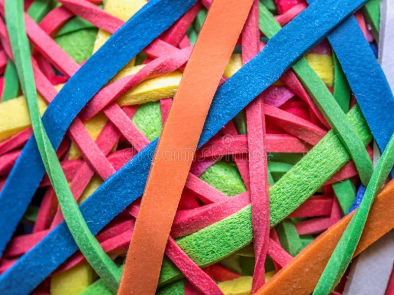 bands färgrikt gummi royaltyfri fotografi
