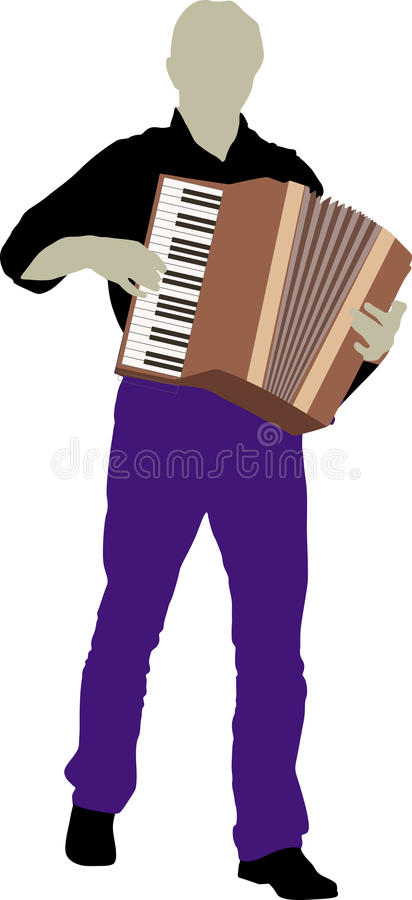 Bandsman. Silhouette of bandsman with accordion royalty free illustration