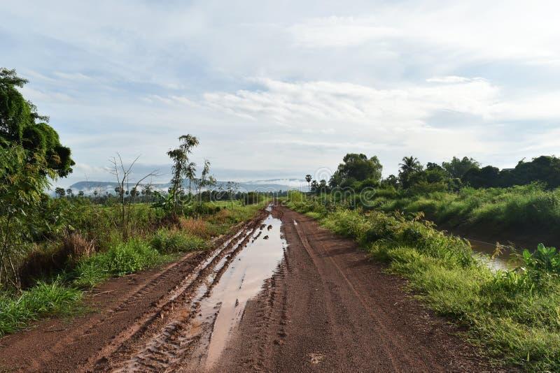 Bandspoor van veel voertuig op de weg van de grondmodder in platteland in regenachtig seizoen stock afbeelding