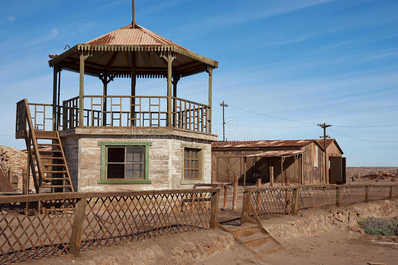 Bandstand at Humberstone Saltpeter Works. Derelict and rusting bandstand at the historic Humberstone Saltpeter Works in the Atacama Desert near Iquique in Chile stock images
