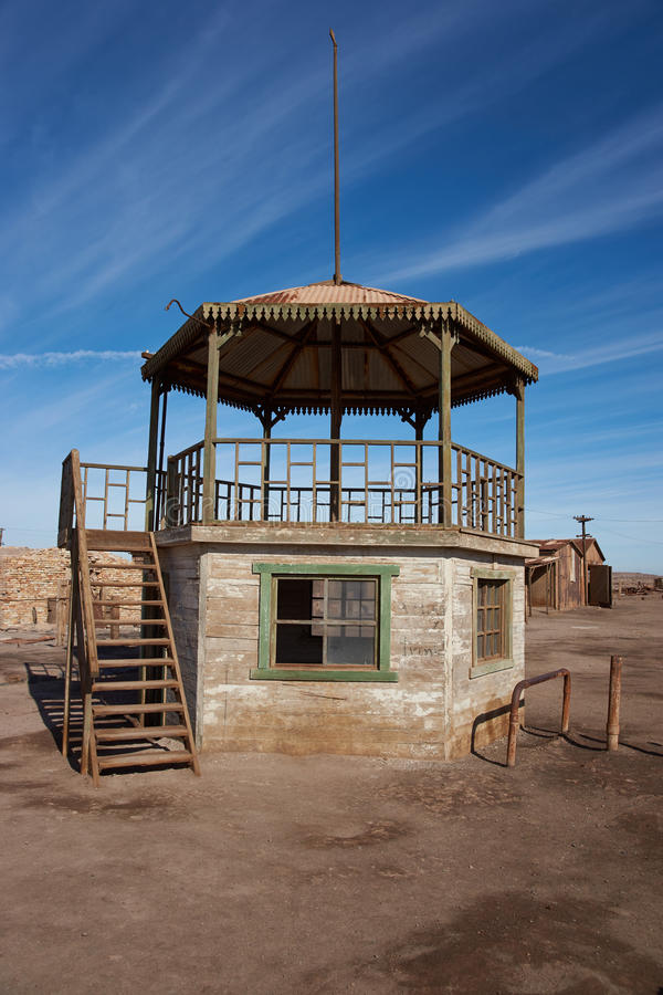 Bandstand at Humberstone Saltpeter Works. Derelict and rusting bandstand at the historic Humberstone Saltpeter Works in the Atacama Desert near Iquique in Chile royalty free stock image