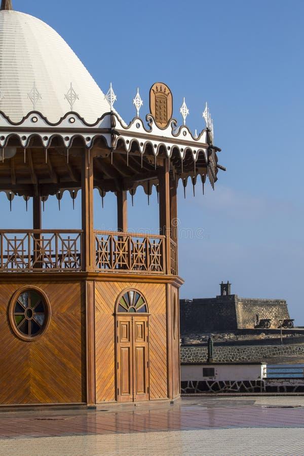 Bandstand i kasztel w Arrecife zdjęcia royalty free