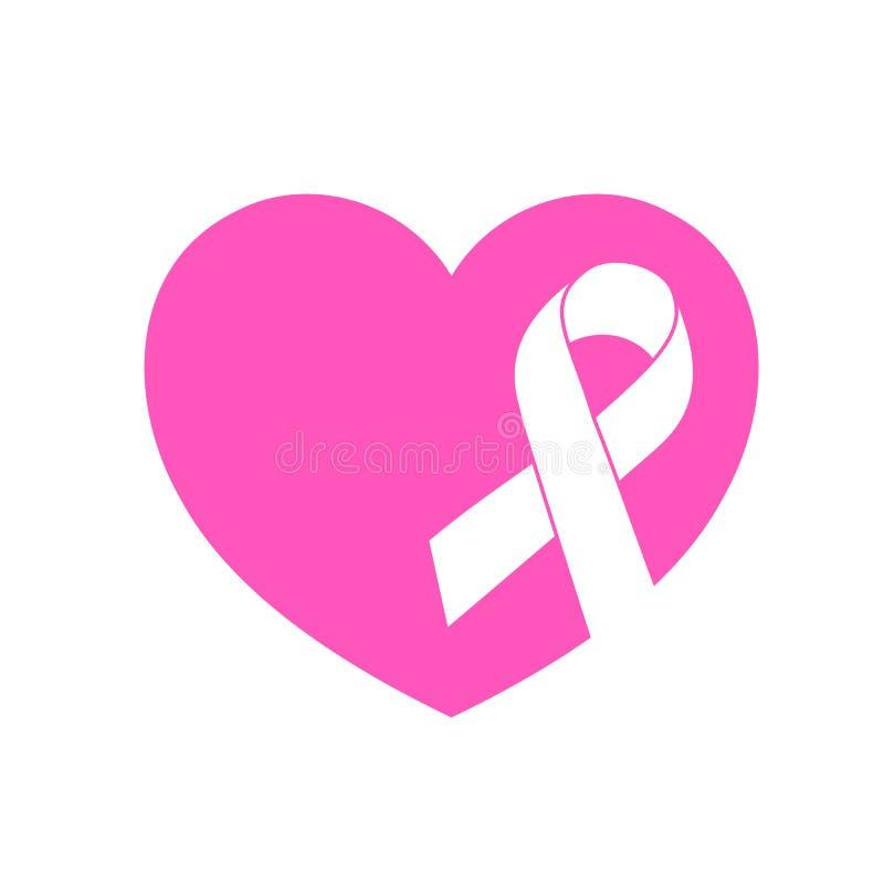 Bandsymbol med rosa hjärta vektor illustrationer