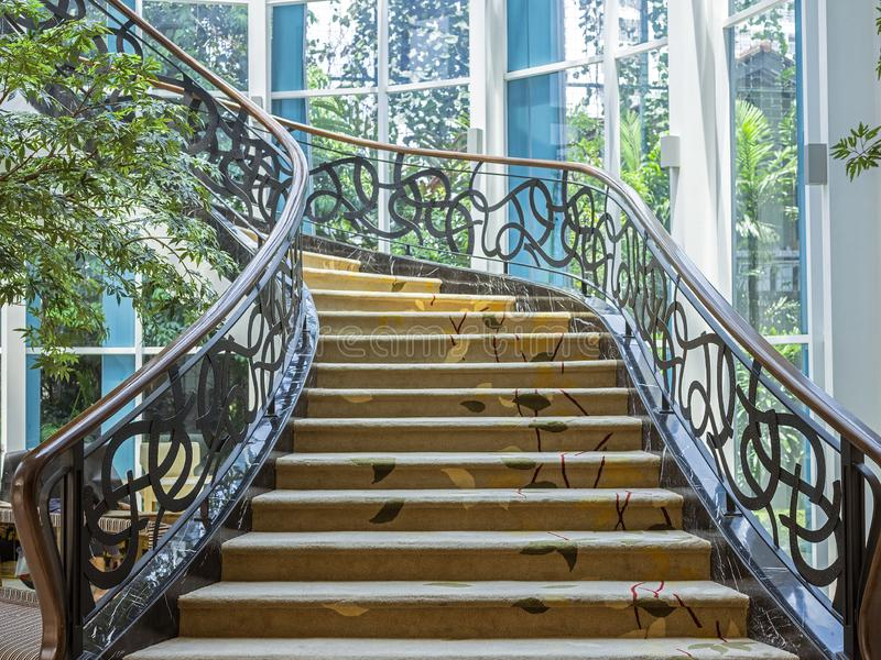 Beautiful stairway located in Bandung, Indonesia. BANDUNG, INDONESIA – NOVEMBER 19, 2018 : Beautiful stairway located in Bandung, Indonesia stock photo