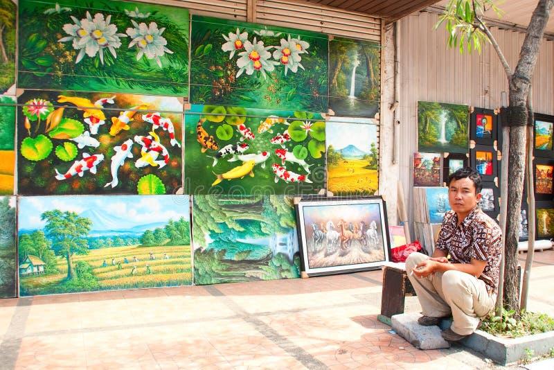 bandung indonesia målningssäljare 2011 arkivbild