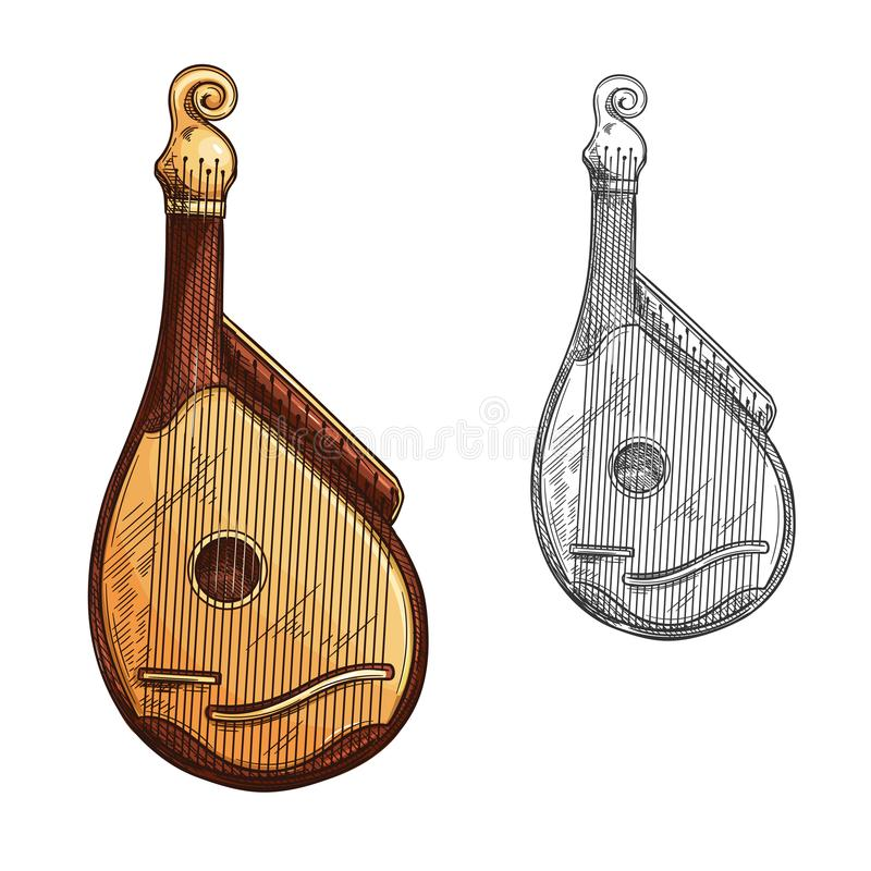 Bandura or kobza ukrainian music instrument sketch. Bandura ukrainian musical instrument isolated sketch. Bandura or kobza plucked string folk instrument of stock illustration