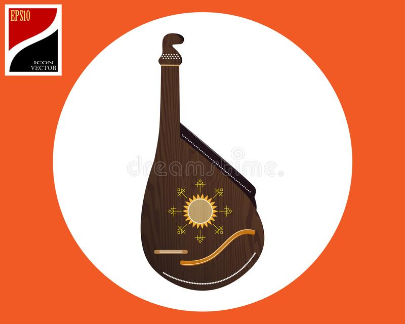 Bandura Ukrainian instrument. In a circle with a sign royalty free illustration