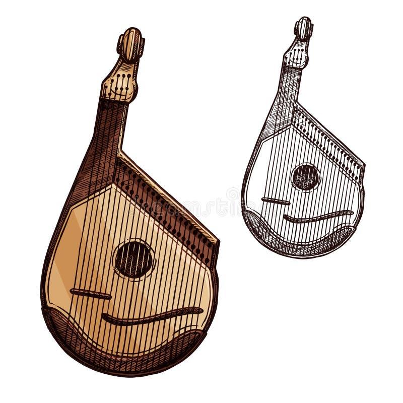 Bandura ukrainian music instrument sketch royalty free illustration
