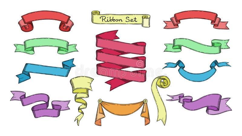 Bandvektor ribboned Element für Fahne oder Retro- leeren Aufkleber für Dekorationsillustrationssatz der Weinleseschablone vektor abbildung