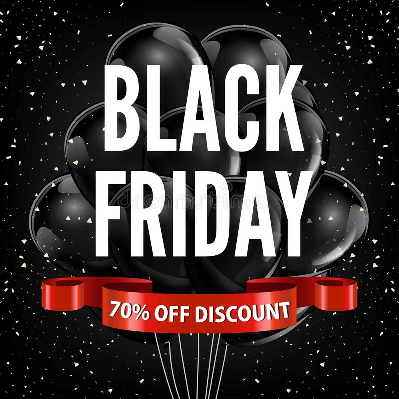Bandvektorwerbungs-Shopplakat der Black Friday-Verkaufsrabatt Promoballone rotes vektor abbildung