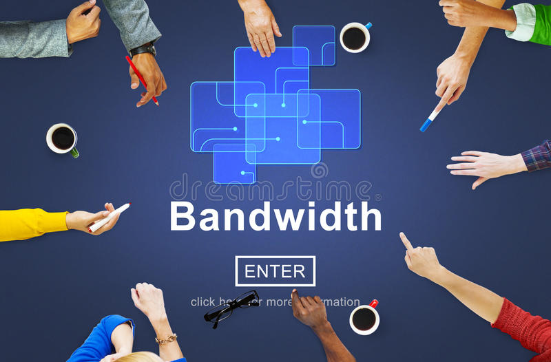 Bandwidth Broadband Connection Data Information Internet Concept. People Discuss Bandwidth Broadband Connection Data Internet stock photo