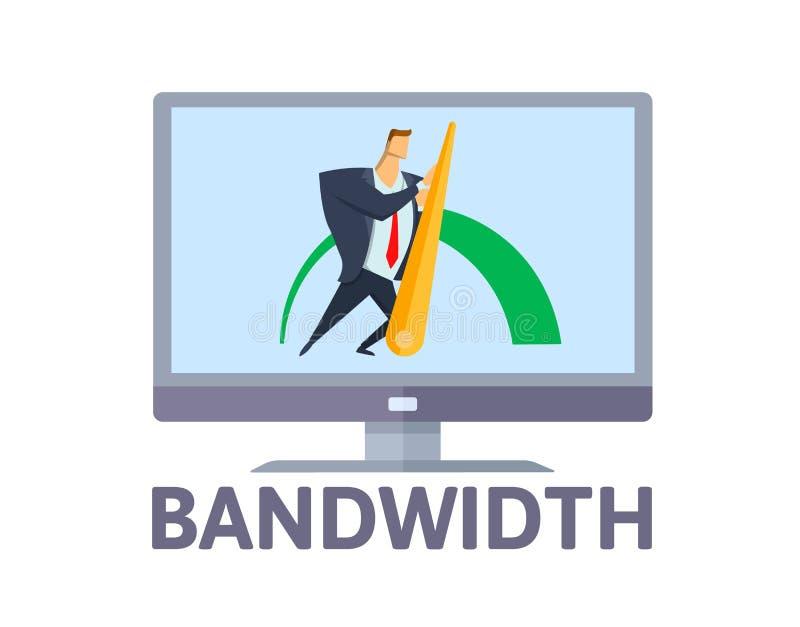 bandwidth Hombre que empuja la flecha de la eficacia en la pantalla de ordenador Concepto de la conexión a internet de la banda a stock de ilustración