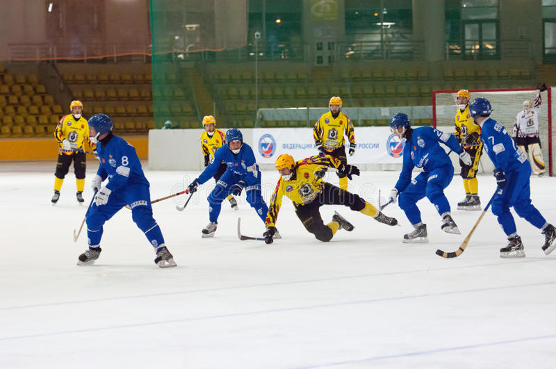 Bandy game moment stock images