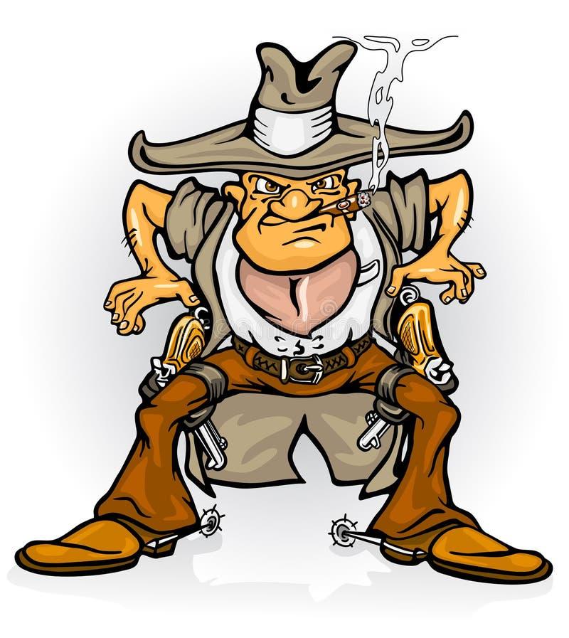 bandycki kowboja pistoletu western royalty ilustracja