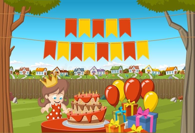 Baner över tecknad filmflicka på ett födelsedagparti vektor illustrationer